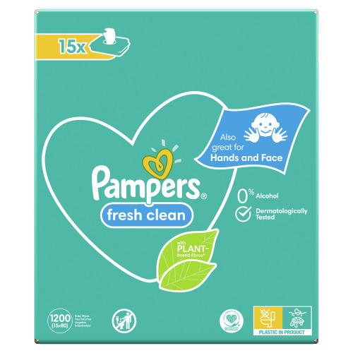 Pampers Fresh Clean Babydoekjes 15 Verpakkingen = 1200 Doekjes