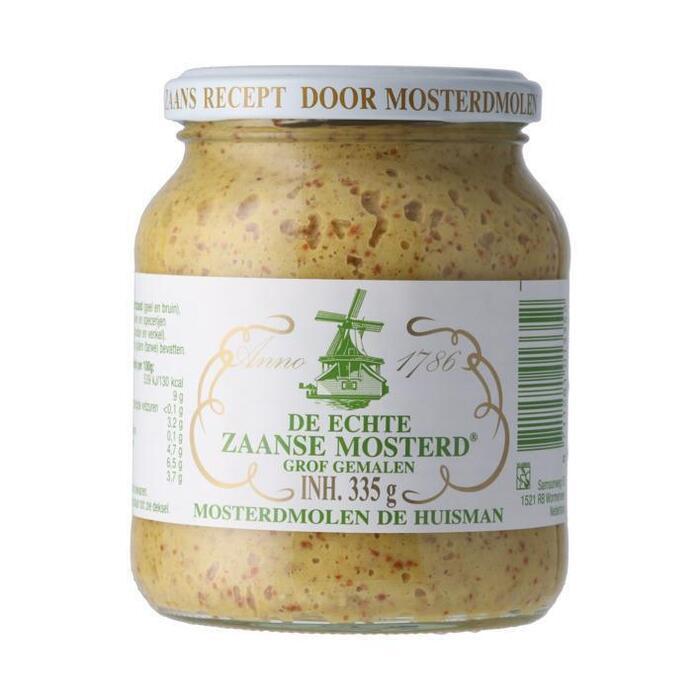 de echte zaanse mosterd grof gemalen (pot, 335g)