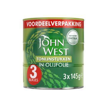 John West Tonijnstukken in olijfolie (3 × 145g)