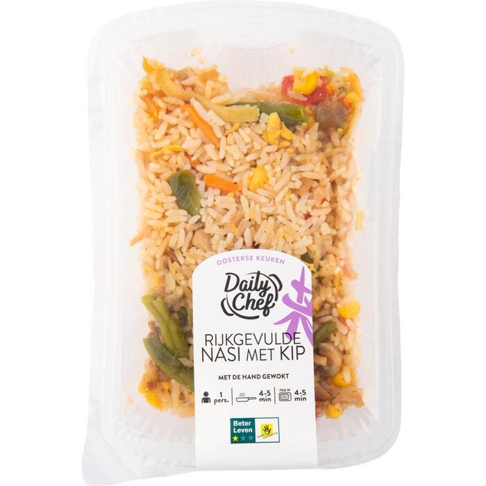 Rijkgevulde nasi met kip (350g)