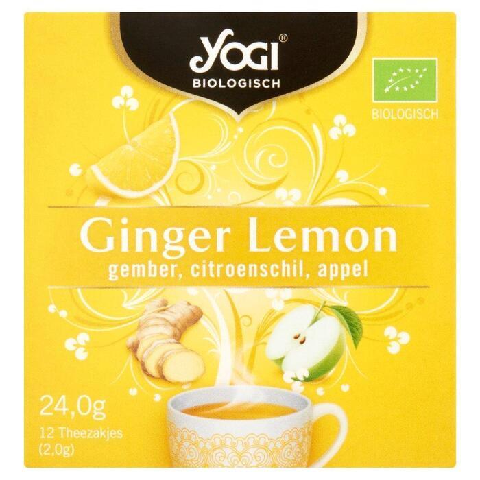 Yogi Biologisch Ginger Lemon Gember, Citroenschil, Appel 12 Theezakjes 24,0 g (24g)