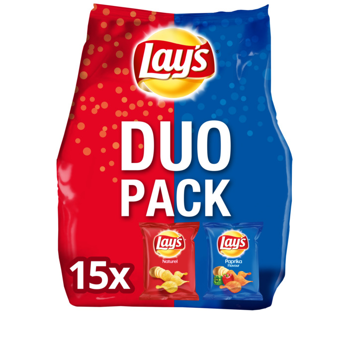 Duopack Naturel & Paprika chipsk (zakjes, 15 × 413g)