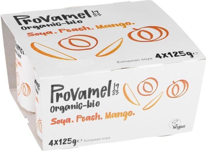 Soya yoghurt perzik/mango (bak, 500g)