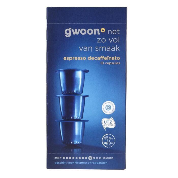 g'woon Espresso decaffeïnato capsules sterkte 9 (10 × 5g)