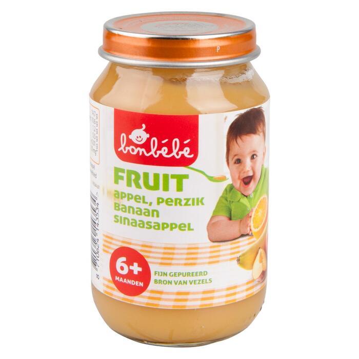 Bonbébé 6 Maanden Fruit appel, perzik, banaan en sinaasappel (200g)