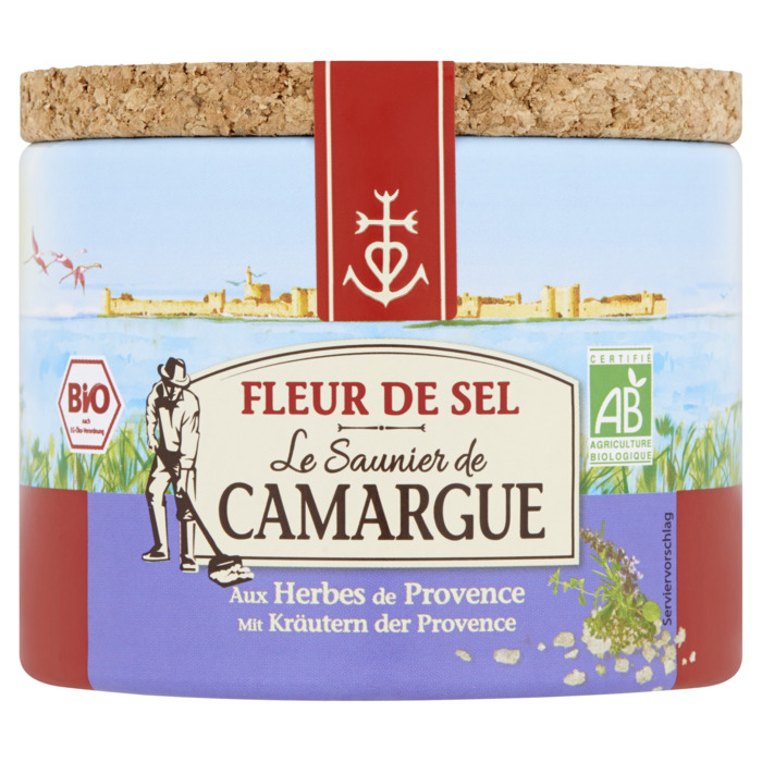 Fleur de Sel de Camargue met Provençaalse kruiden- kostbare bloemblaadjes van zout, met de hand geoogst door de zoutzieders - vervolmaakt de smaak van gerechten (125g)