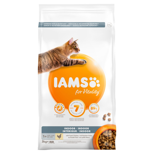 Iams for Vitality Indoor 1+ Years with Fresh Chicken 3 kg (3kg)