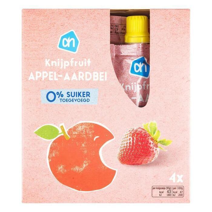 Knijpzakje Appel & Aardbei (4 × 90g)