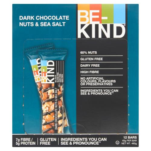 BE-KIND Pure Chocolade, Noten & Zeezout 12 x 40 g (40g)