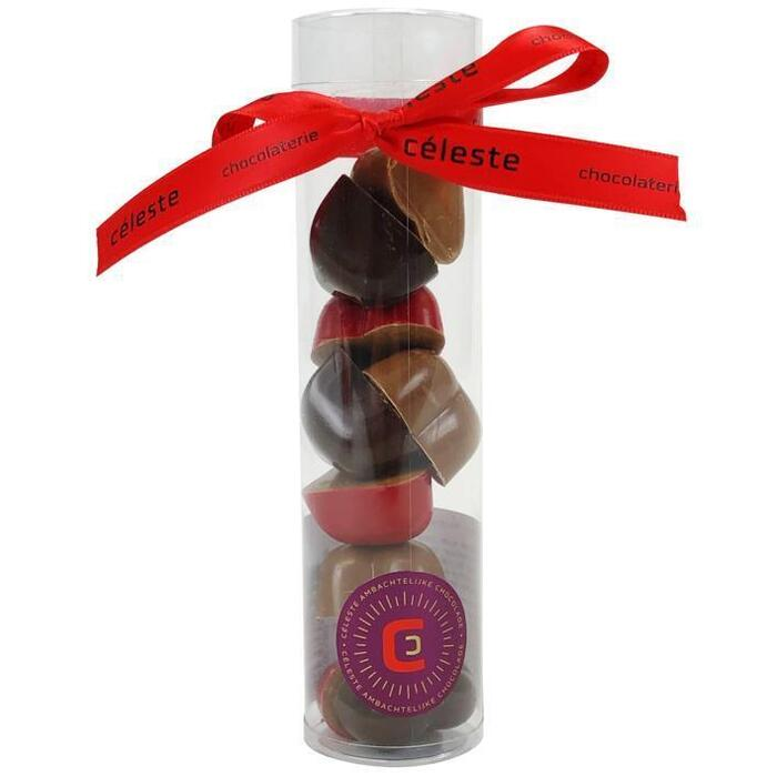 Chocolaterie Céleste Chocoladehartjes praline in koker (120g)