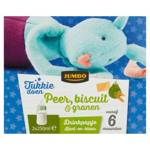 Jumbo Tukkie Doen Peer, Biscuit & Granen Drinkpapje Kant-en-Klaar vanaf 6 Maanden 2 x 250 ml (2 × 250ml)