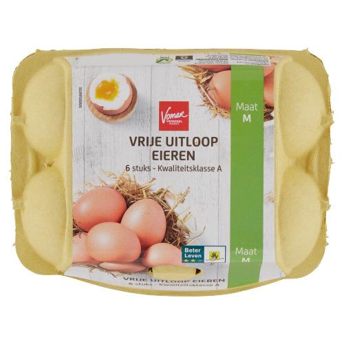 Vomar Vrije Uitloop Eieren S/M 6 Stuks (258g)