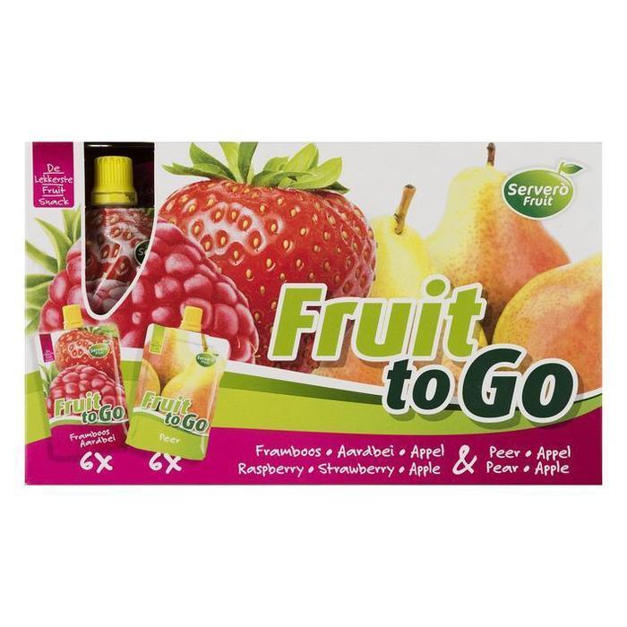 Servero Fruit to Go Framboos Aardbei Appel & Peer Appel 12 x 100g (knijpzak, 12 × 100g)