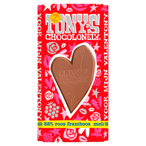Tony's Chocolonely Valentijnreep Melk roos framboos (180g)