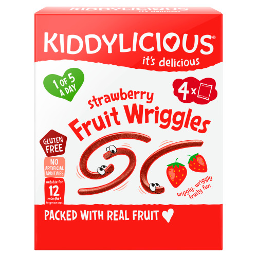 Kiddylicious Strawberry Fruit Wriggles 12+ Months 4 x 12 g (12g)