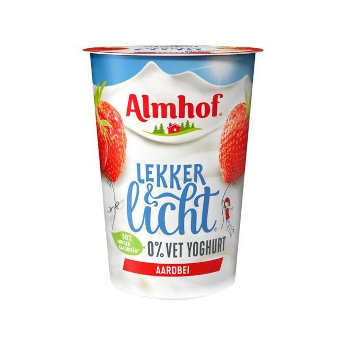 Almhof 0% Vet Yoghurt Aardbei 500g (500g)