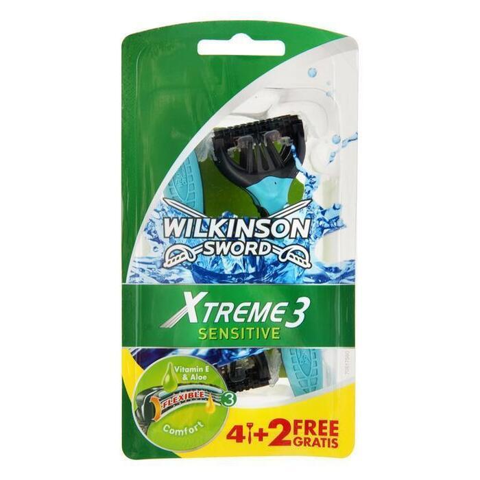 Wilkinson Sword Xtreme3 Sensitive wegwerpmesjes - 4+2 stuks (stuk, 6 st.)