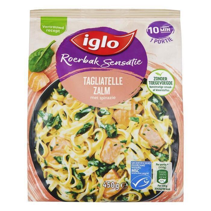 Iglo Roerbak sensatie tagliatelle spinazie & zalm (450g)
