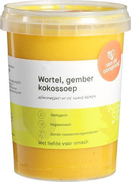 Wortel-gember kokossoep (0.5L)