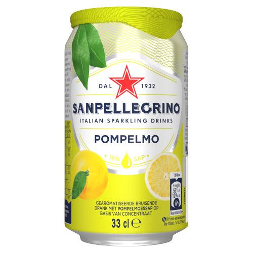 SANPELLEGRINO® Pompelmo Bruisende Vruchtendrank Blikje 33 cl (rol, 33 × 33cl)
