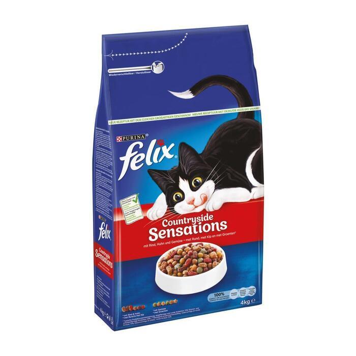 Felix Countryside Sensations met Rund, met Kip en met Groenten 4 kg (4g)