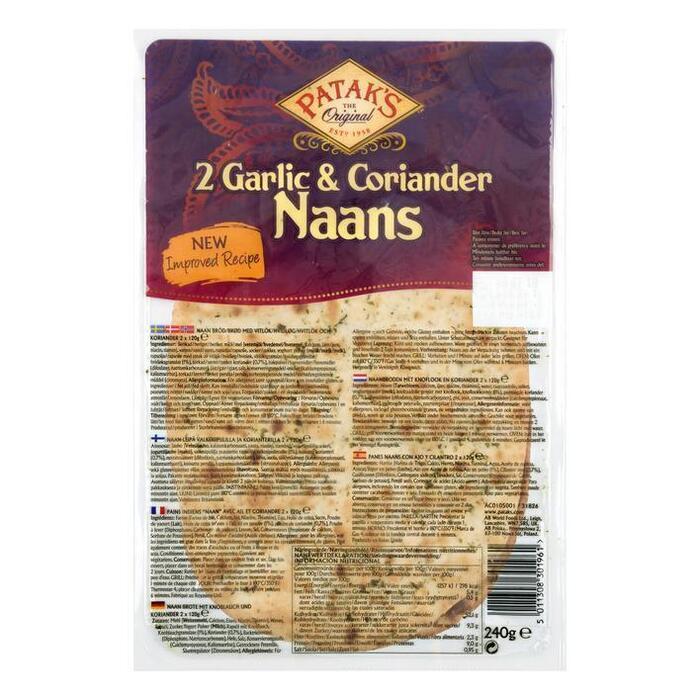 Patak's Naan garlic & coriander (2 × 260g)