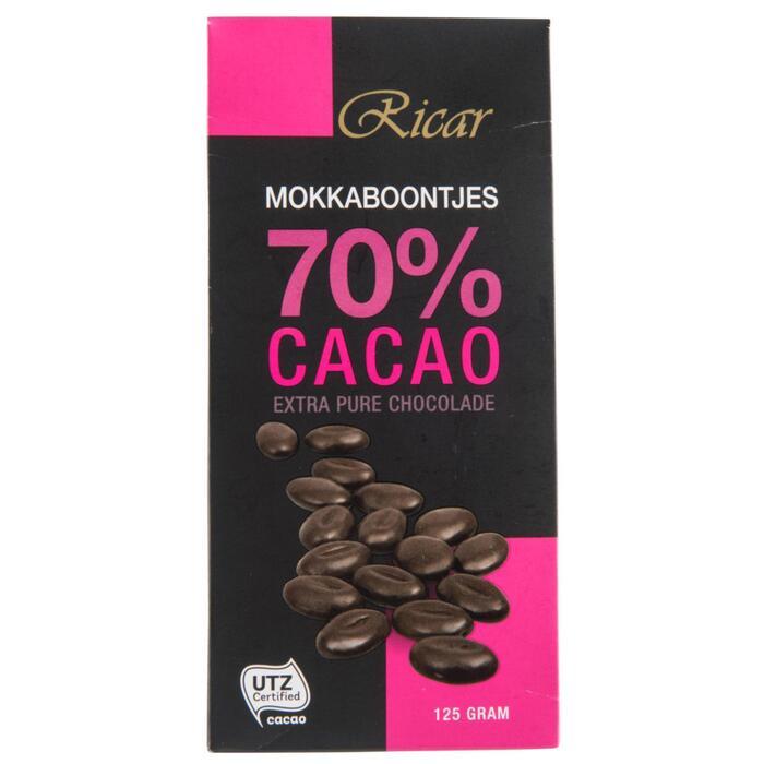 Ricar Mokkaboontjes 70% Cacao Extra Pure Chocolade 125g (125g)