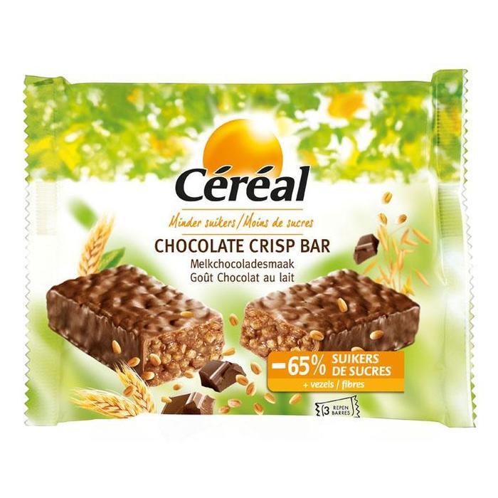 Céréal Minder Suikers Chocolate Crisp Bar Melkchocoladesmaak 3 x 35g (3 × 35g)
