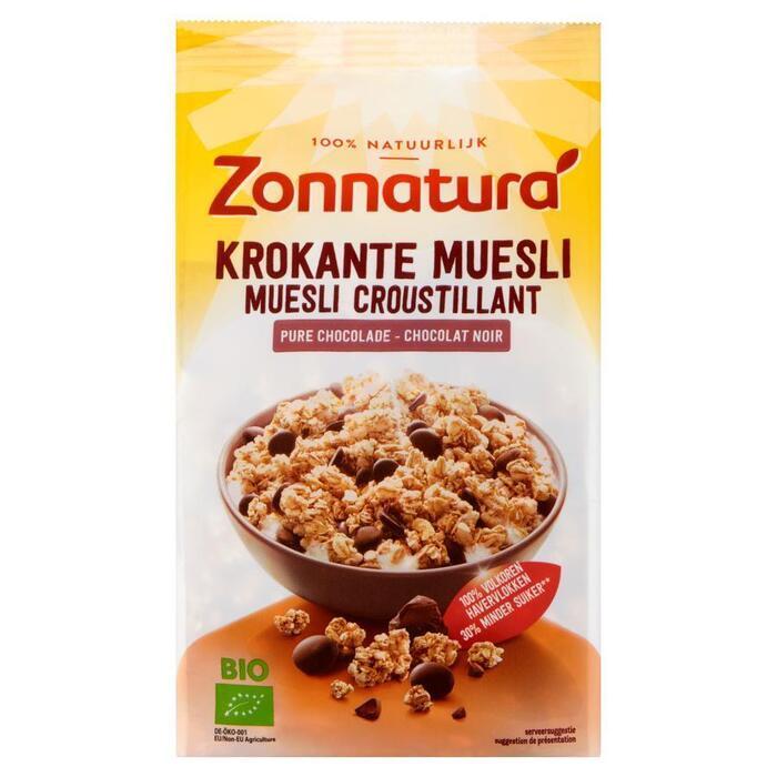 Zonnatura Krokante muesli pure chocolade (375g)