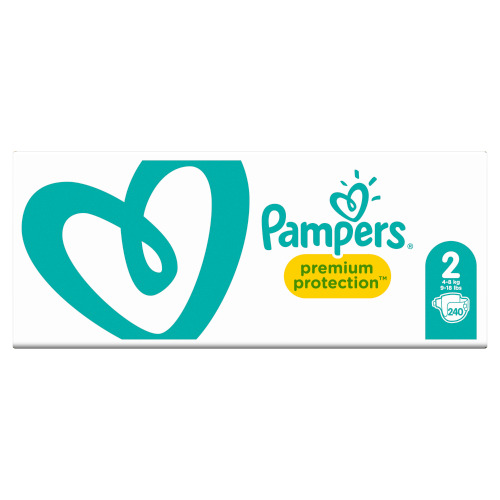 Pampers Premium Protection Maat 2, 4-8 kg, 240 Luiers, Maandbox