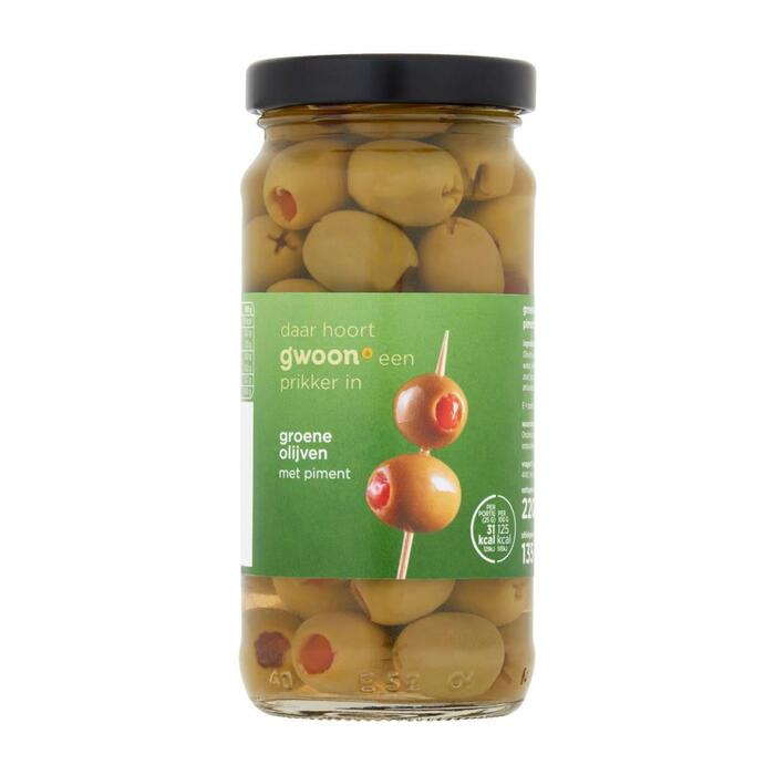 g'woon groene olijven met piment 220 gram (220g)