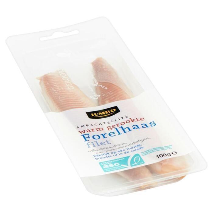 Ambachtelijke Warm Gerookte Forelhaas Filet (bak, 100g)