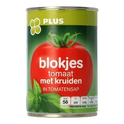 Blokjes tomaat met kruiden (Blik, 400g)