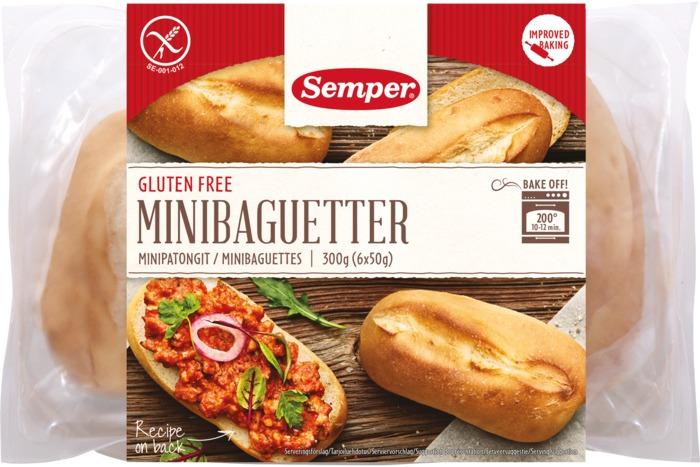 SEMPER  Glutenvrij brood Minibaguetter 300g Tray (300g)