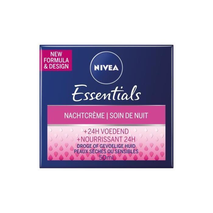 Nivea Essentials Herstellende Nachtcrème Droge of Gevoelige Huid 50ml (50ml)