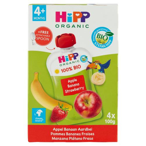 HiPP BIO Appel Banaan Aardbei 4 x 100 g (100g)