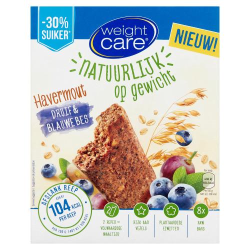 Weight Care Havermout Druif & Blauwe Bes 8 Stuks 248 g (8 × 31g)