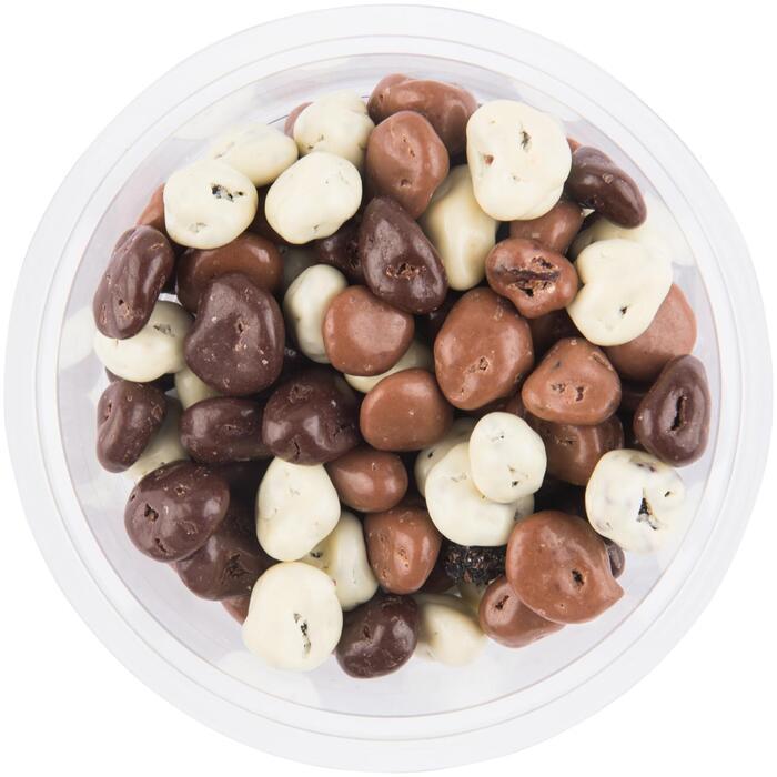 Chocolade rozijnen groot melk puur en wit (180g)