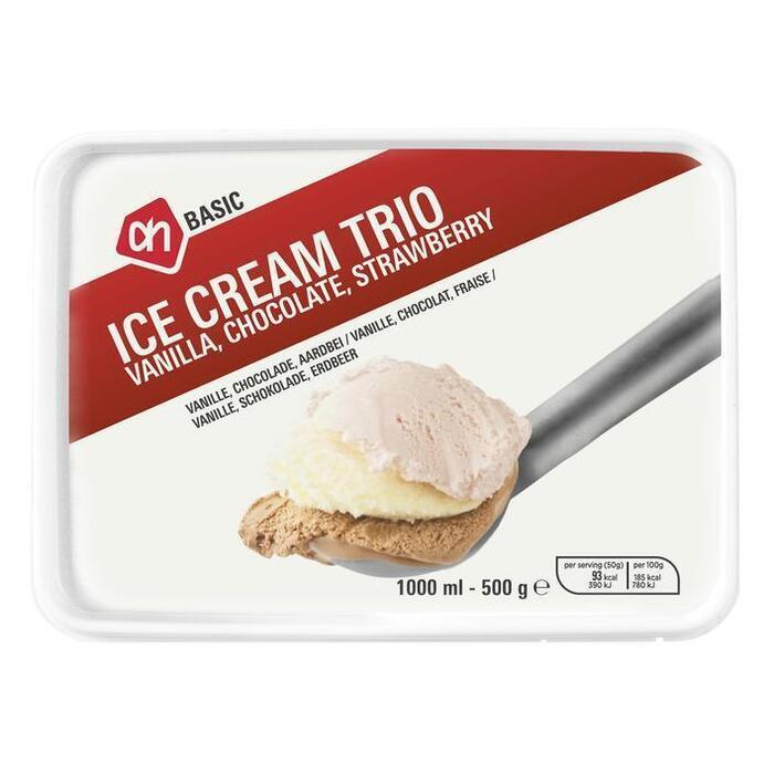 AH BASIC IJstrio vanille, chocolade, aardbei (1L)
