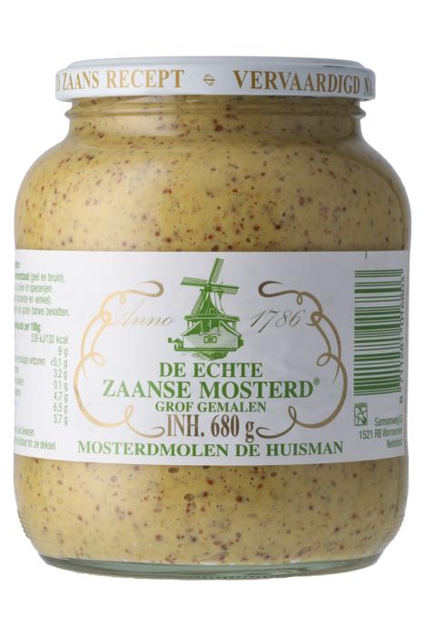 Huisman De echte Zaanse mosterd grof 680 gr pot (680g)
