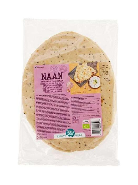 Naanbrood met knoflook & kalonjizaden 2 st TerraSana 240g (240g)