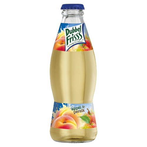 Dubbelfrisss vruchtendrank appel perzik 200 ml fles (200ml)