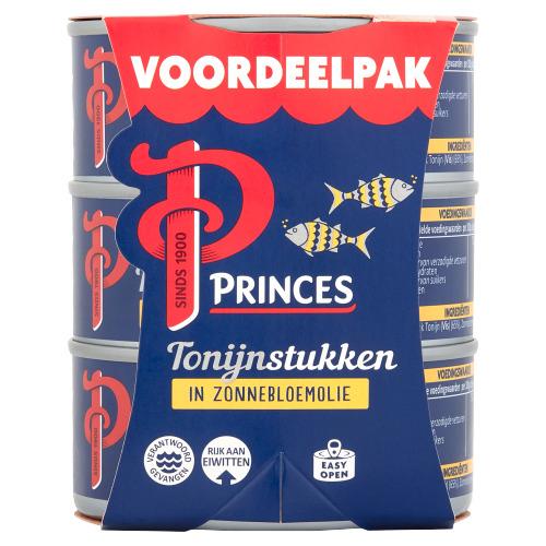 Princes Tonijnstukken in Zonnebloemolie Voordeelpak 3 x 145 g (3 × 145g)