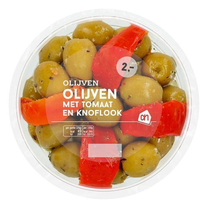AH Olijven met tomaat en knoflook (140g)