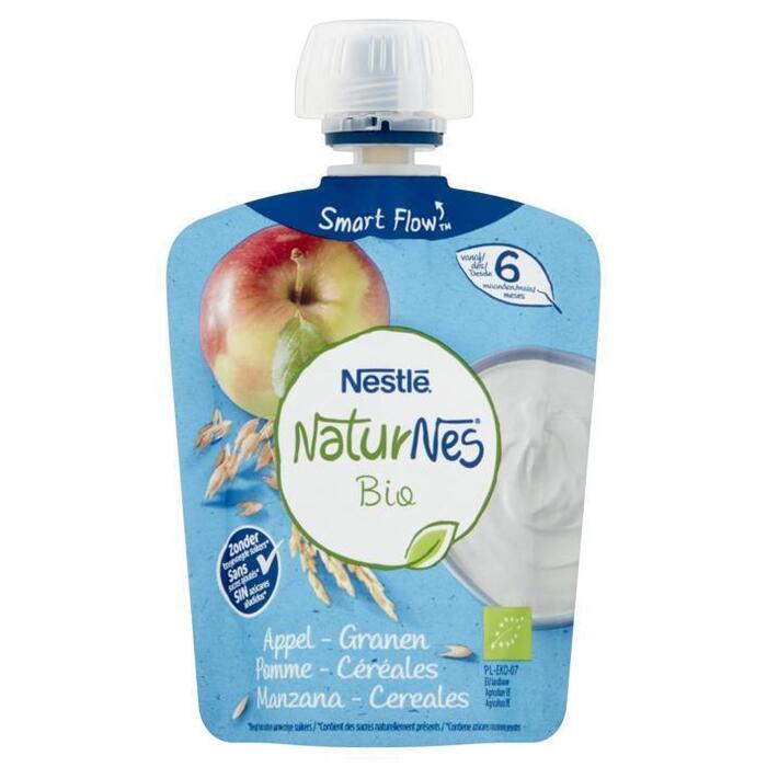 NaturNes Knijpzakje appel granen 6+ bio (90g)