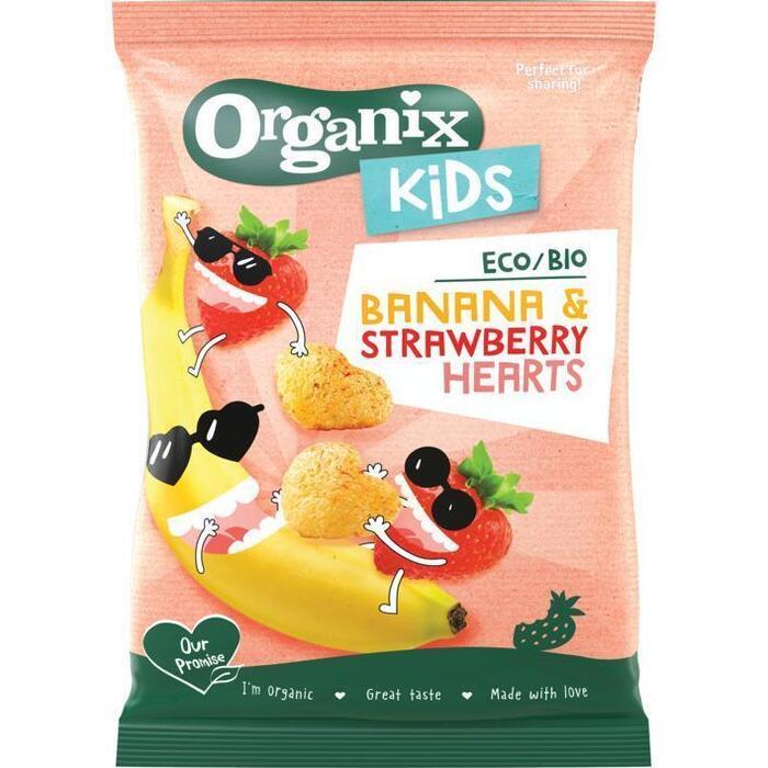 Organix Banana & strawberry hearts kids (30g)