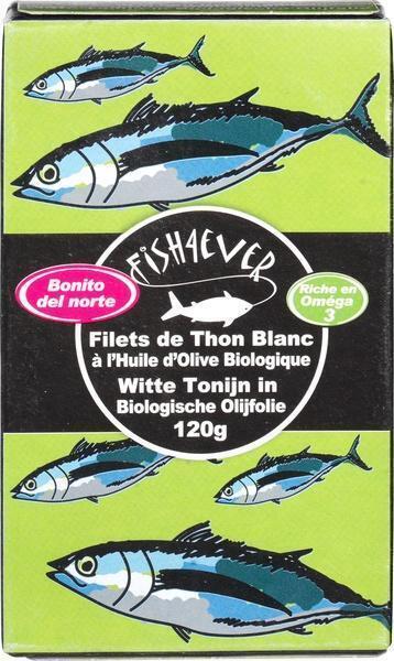 White Tuna fillets in organic olive oil (blik 120g) (120g)