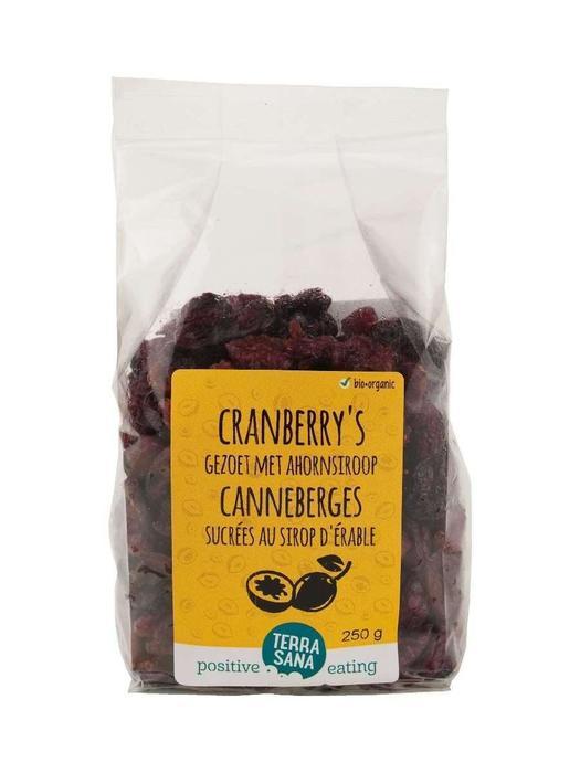 Cranberry's gedroogd, gezoet met riet & ahorn -voordeelpak- TerraSana 250g (250g)