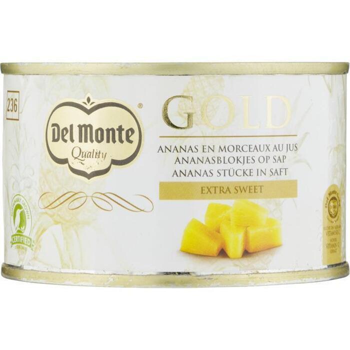 Del Monte Gold ananasblokjes op sap (230g)