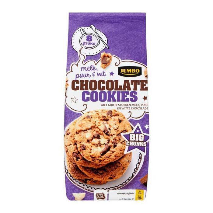 Jumbo Chocolate Cookies Melk, Puur & Wit Big Chunks 8 Stuks 200g (200g)